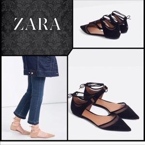 Zara Mesh D'orsay black Lace-up Flats size 39